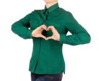 Hembra con la camisa verde Fotos de archivo libres de regalías