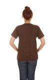 Hembra con la camiseta en blanco (lado trasero) Imagen de archivo