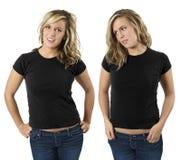 Hembra con las camisas negras en blanco Fotografía de archivo