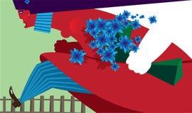 Hembra de la historieta con las flores ilustración del vector