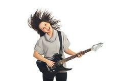 Hembra del guitarrista en el movimiento Fotos de archivo libres de regalías