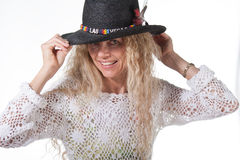 Hembra del Hippie con el sombrero de Las Vegas Imagenes de archivo