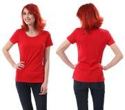 Hembra del Redhead con la camisa roja en blanco Imagen de archivo libre de regalías