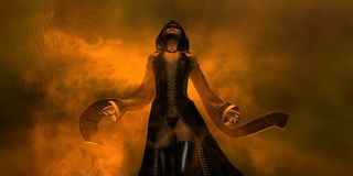 Hembra del ser humano del mago Imagen de archivo libre de regalías