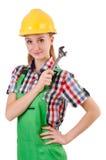 Hembra del trabajador de Constructon con la llave aislada Imagen de archivo libre de regalías