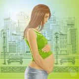Hembra embarazada del vector con el vientre Foto de archivo