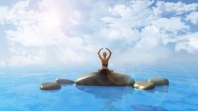 Hembra en la posición de la yoga en el océano Imagenes de archivo