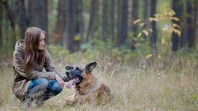 Hembra en parque del otoño con su animal doméstico - pastor alemán Imágenes de archivo libres de regalías