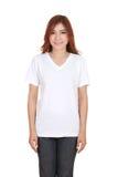 Hembra hermosa joven con la camiseta blanca en blanco Fotos de archivo