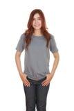 Hembra hermosa joven con la camiseta en blanco Fotos de archivo libres de regalías