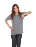 Hembra hermosa joven con la camiseta en blanco Foto de archivo