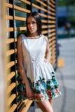 Hembra hermosa, sensual y atractiva en un vestido en la calle Mujer atractiva y elegante con el pelo largo en el urbano fotografía de archivo libre de regalías