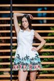 Hembra hermosa, sensual y atractiva en un vestido en la calle Mujer atractiva y elegante con el pelo largo en el urbano imagenes de archivo