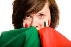Hembra joven con el indicador italiano, aislado Fotos de archivo libres de regalías