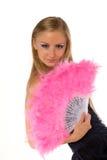 Hembra joven con el ventilador rosado de la mano aislado Fotografía de archivo libre de regalías