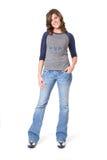 Hembra ocasional en pantalones vaqueros y camiseta Foto de archivo libre de regalías