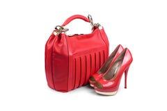 Hembra roja bag&shoes-1 Foto de archivo libre de regalías
