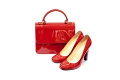 Hembra roja bag&shoes-4 Imagen de archivo libre de regalías