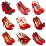 Hembra roja shoes-2 Imagen de archivo libre de regalías