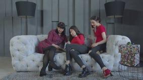 Hembras alegres que se relajan en el sofá en sitio nacional metrajes