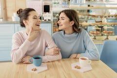 Hembras jovenes alegres que se relajan en café Fotos de archivo libres de regalías