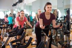 Hembras vigorosas que montan las bicicletas inmóviles Fotografía de archivo
