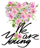 Hemdgraphiken Rote Innere Rosen-Blumenaquarellhintergrund jung Lizenzfreies Stockfoto