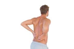 Hemdloser Mann, der unter Rückenschmerzen leidet Stockbild