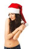 Hemdloser tragender Weihnachtsmann-Hut der Frau Lizenzfreie Stockfotos