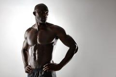 Hemdloses männliches Modell, das gegen grauen Hintergrund aufwirft Lizenzfreies Stockbild