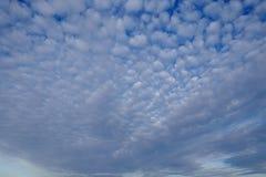 Hemel in de avond met vele kleine wolken stock afbeeldingen