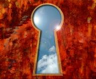 Hemel in een sleutelgat Stock Afbeeldingen