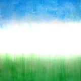 Hemel en gras, waterverf abstracte achtergrond Royalty-vrije Stock Foto