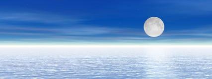 Hemel en overzees, nacht met maan Royalty-vrije Stock Afbeelding