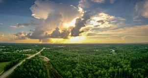 Hemel en van de wolkenzonsondergang landschap over van Zuid- York Carolina Stock Foto