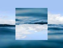 Hemel en water Geometrisch bezinningeneffect royalty-vrije illustratie
