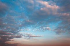 Hemel en wolk vóór zonreeksen Royalty-vrije Stock Foto's