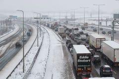 British motorway M1 during snow storm. Hemel Hempstead, UK - December 10, 2017: Traffic jam on the British motorway M1 during snow storm stock images