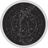 Hemel Kaart van de Hemel van de Nacht royalty-vrije illustratie