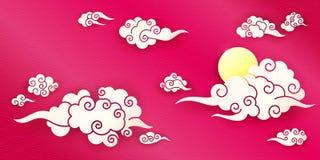 Hemel met Chinese wolken stock illustratie