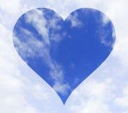 Hemel met een hartvorm op het centrum Stock Afbeelding