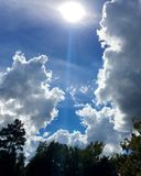 Hemel met wolken en bomen Royalty-vrije Stock Foto