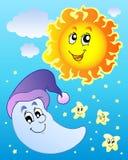 Hemel met Zon en Maan vector illustratie