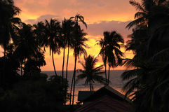 Hemel, overzees, oceaan, Koh Samui, Thailand, zonsondergang Royalty-vrije Stock Foto
