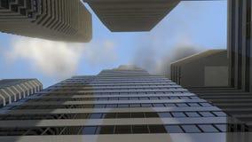 Hemel tussen wolkenkrabbers Stock Afbeelding