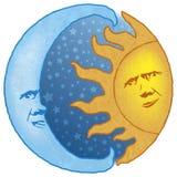 Hemel Zon en Maan Stock Afbeeldingen