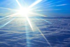 Hemel, zonsondergangzon en wolken Stock Fotografie