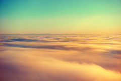 Hemel, zonsondergangzon en wolken Royalty-vrije Stock Afbeeldingen