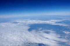 Hemelmening van vliegtuigvenster stock afbeeldingen