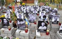 Hemelse honderden van mensens Herdenkingshelden in Kyiv_5 Stock Fotografie